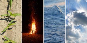 Die vier Elemente Erde, Feuer, Wasser, Luft